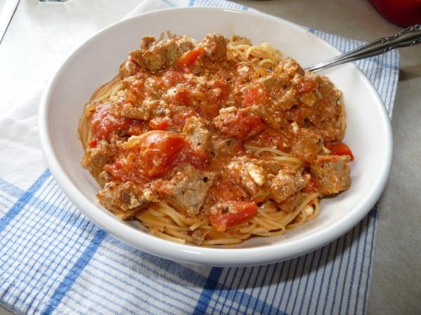 Swirl pasta in sauce and serve