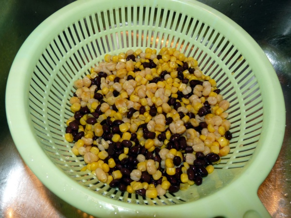 Wash and drain the beans and corn