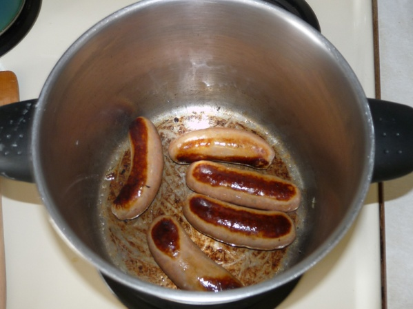 Sear the sausages