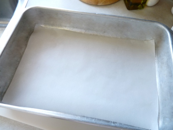 Line the pan with parchment