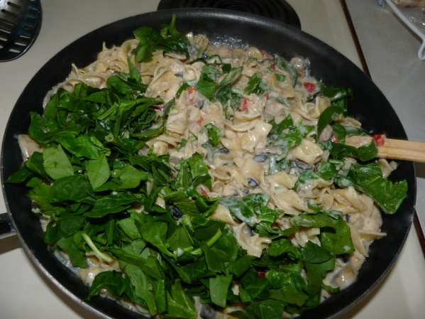 Stir in chopped spinach