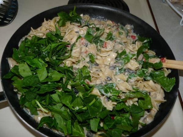 Stir in chopped spinach