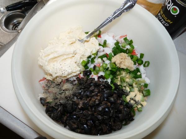Add mayo, black olives and seasonings