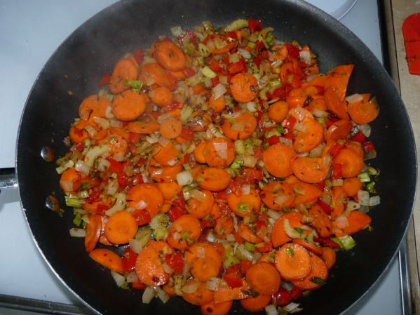 Saute the veggies in a skillet