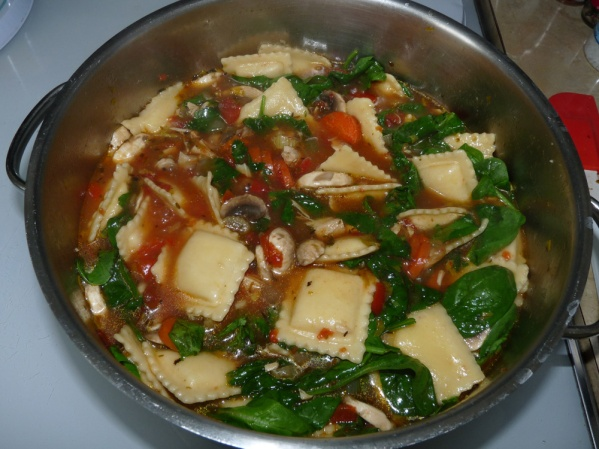 Add the spinach and simmer