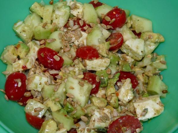 Refrigerator Crisper Salad with Sunflower Seeds
