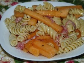 Cantaloupe. Prosciutto, Marjoram Pasta Salad
