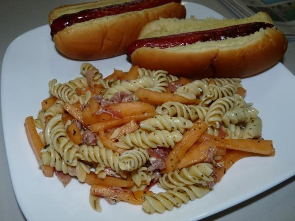 Cantaloupe, Prosciutto, Marjoram Pasta Salad