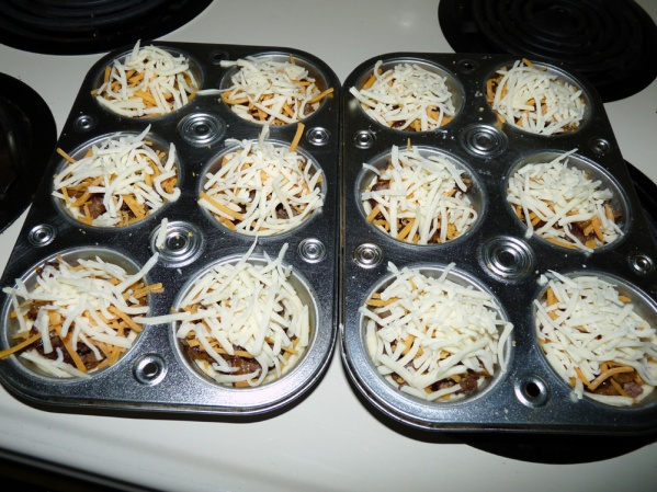 Layer the meat, onions, and cheese