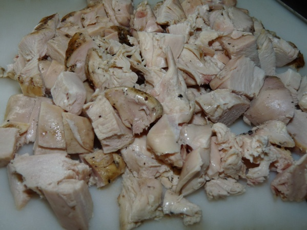 Diced grilled chicken breasts