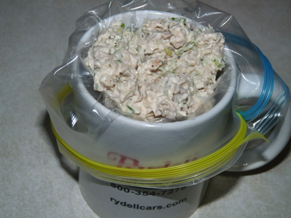 Place bag inside a cup and fill with chicken salad