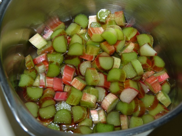 Dice rhubarb and cook with water until tender
