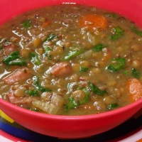 Ham, Lentil, Spinach Soup