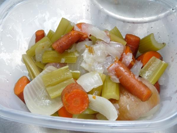 Strain the broth and discard the veggies and bone