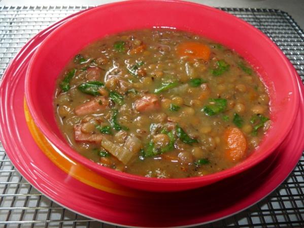 Ham, Lentil Spinach Soup