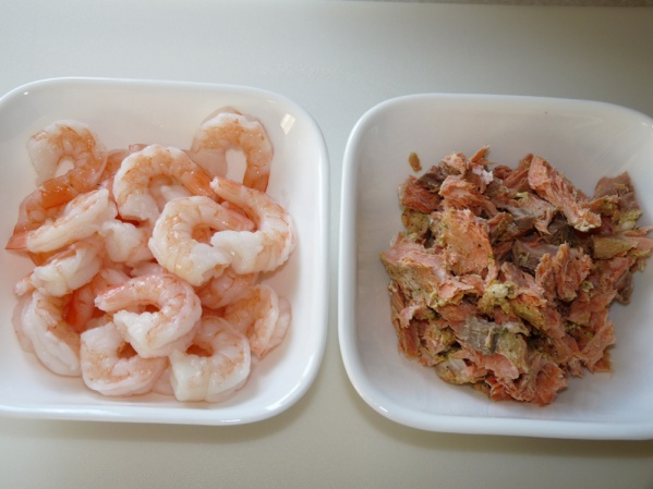 1/2 a pound of shrimp and 1 cup of leftover honey dijon salmon