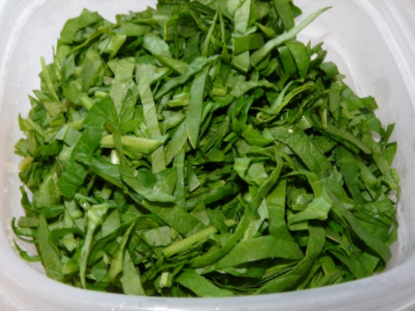 Thinly sliced spinach