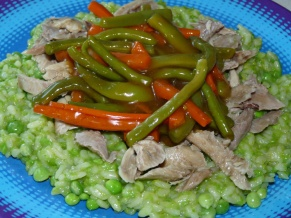 Pea Risotto, Turkey, Ginger Vegetables