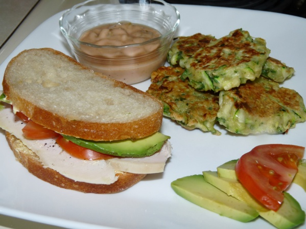 Zucchini fritters are a great side to even a simple sandwich