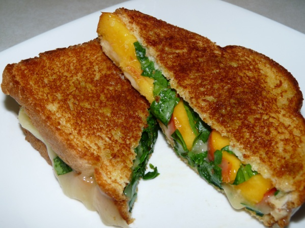 Grilled Havarti Peach Spinach Sandwiches