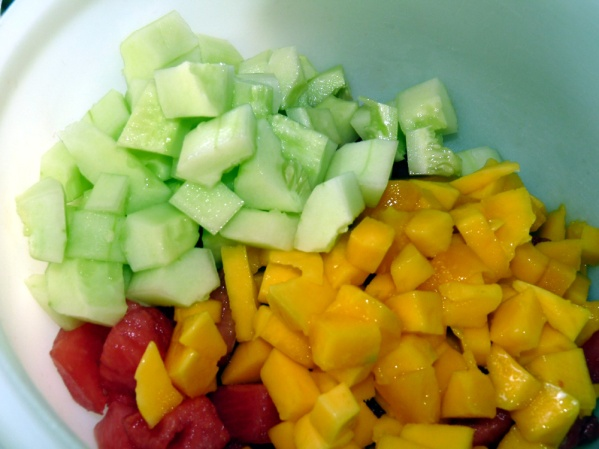 Watermelon, mango and cucumber