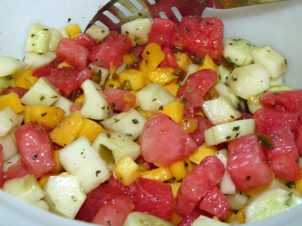 Mango Cucumber Watermelon Salad