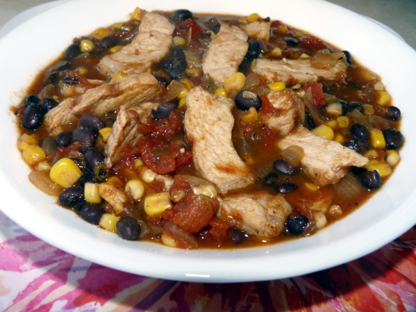 Southwestern pork chop soup