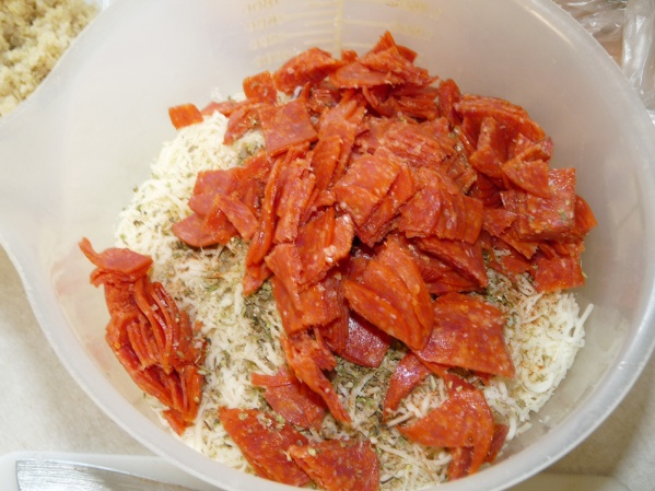 Add diced pepperoni and stir together
