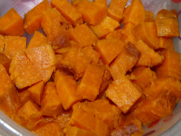 Diced roasted sweet potatoes