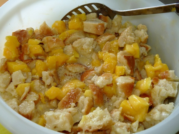 Stir diced mango into the pudding mixture