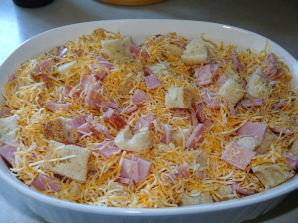 Layer rest of break, ham and cheese