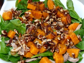 Warm Spinach Salad with Turkey and Sweet Potatoes