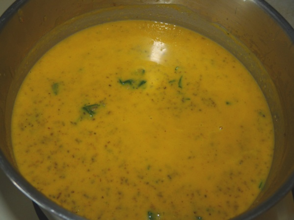 Puree with immersion blender, then add corn