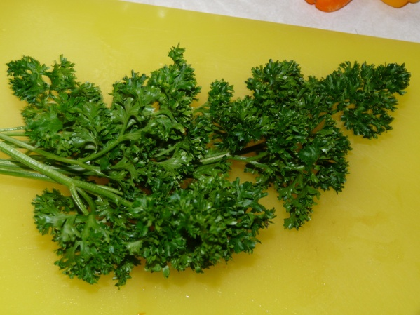 Chop a handful of fresh parsley