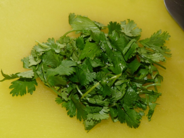 Chop and handful of fresh cilantro