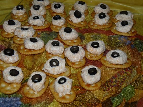 Center eyeballs on crackers on a platter