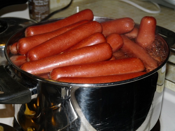 Heated hot dogs