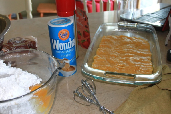 Spread the first layer into a sprayed baking dish