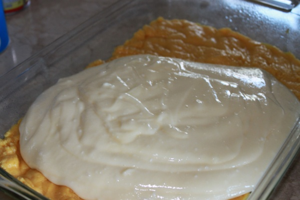 Pour the second layer over the first and spread evenly with a spatula
