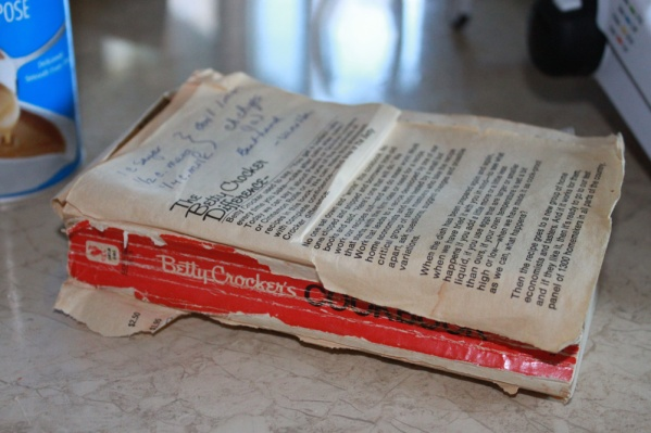 Linda's faithful cookbook, originally a gift from me