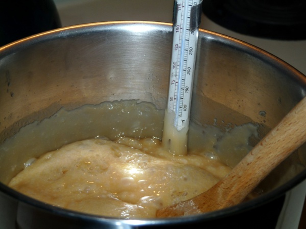 Keep stirring, it will take at least 10 minutes to reach 280