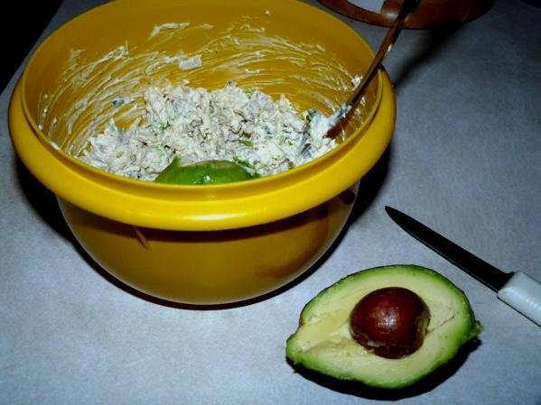 mash avocado into the salad