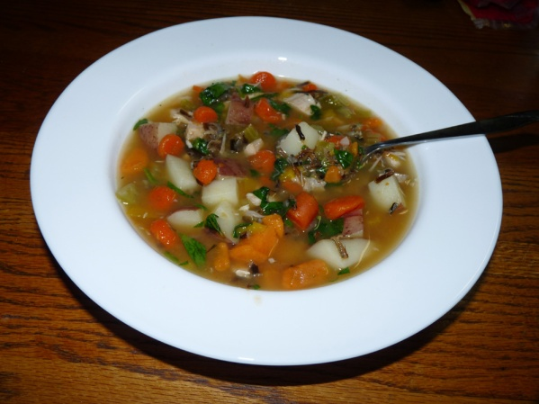 Turkey Sweet Potato Wild Rice Soup