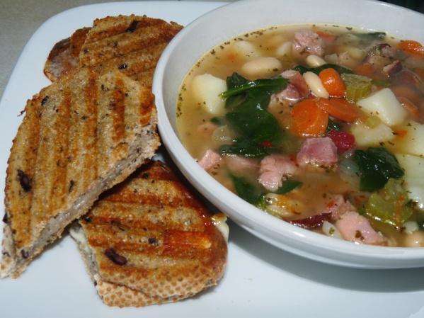 Kalamata Havarti Panini and soup