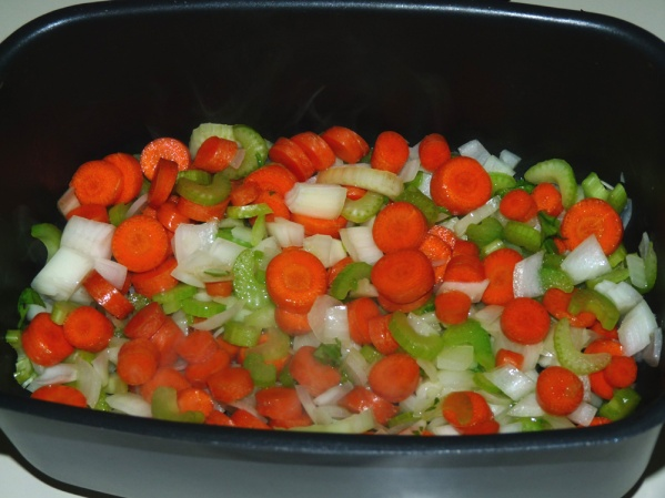 Saute onions, celery and carrots until onions are translucent