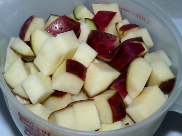 Diced potatoes with skins