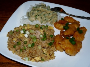 Pork Fried Rice and Asparagus in Sherry Cream Sauce