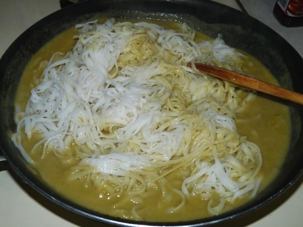 Stir noodles into the asparagus sauce