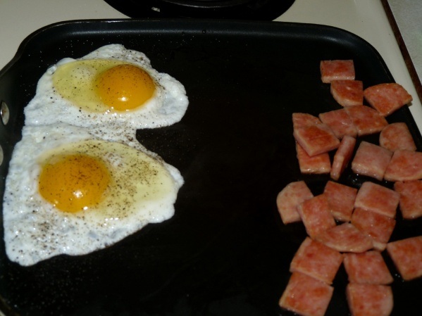 Push aside Spam and fry two eggs over easy