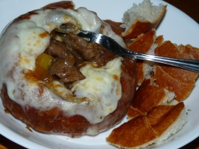 Philly Cheesesteak in a Bread Bowl